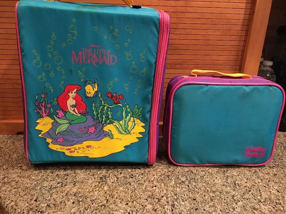 Vintage Disney Little Mermaid Backpack and Lunch Bag by WIZ - Hard to Find