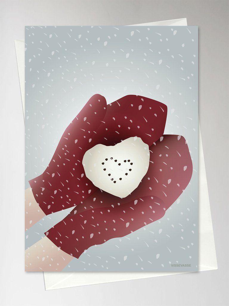 Snow Heart Kort Fra Vissevasse Kob Det Her Lykonskningskort