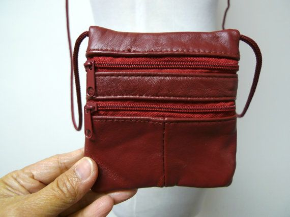 small burgundy leather shoulder bag by june22 on Etsy
