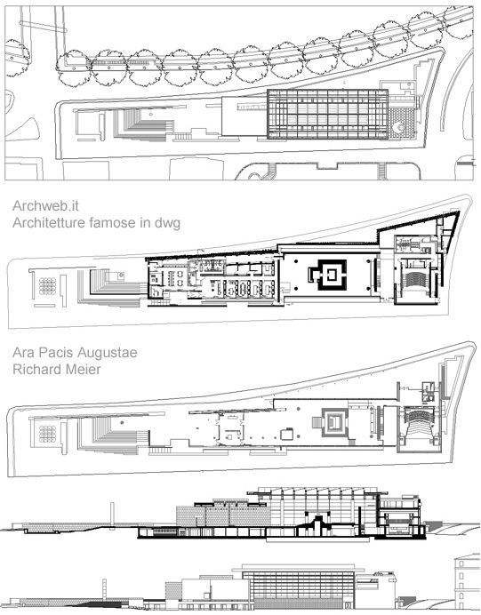 Interesting ara pacis dwg d richard meier dwg with for Sala pranzo cad
