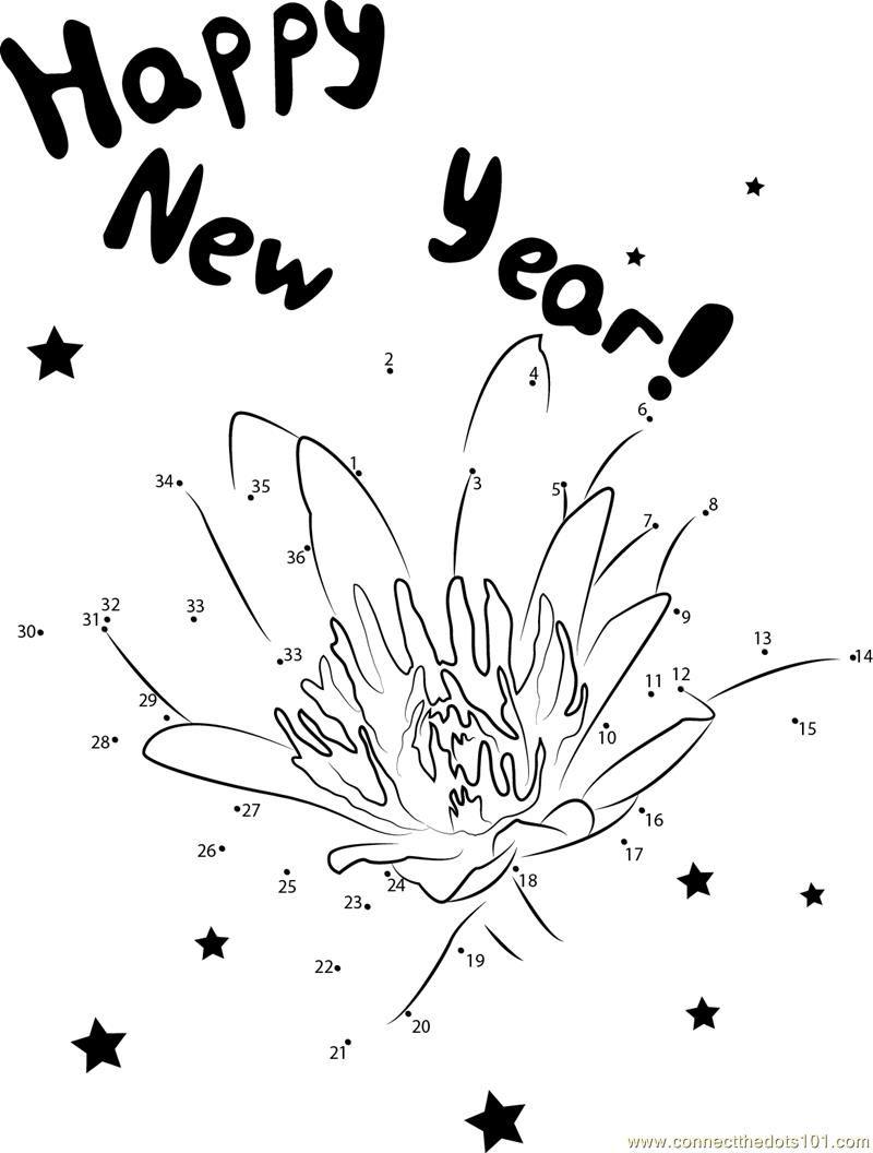 lotus flower happy new year dot to dot printable worksheet