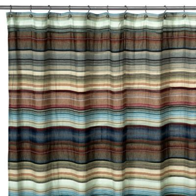 Retro Chic Blue Fabric Shower Curtain Fabric Shower Curtains Curtains Shower Curtain