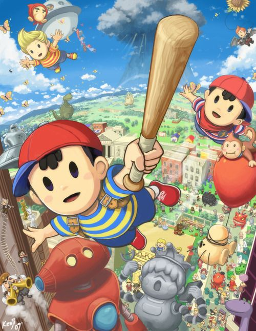 Ness, Lucas, Mr  Saturn, and other Earthbound characters