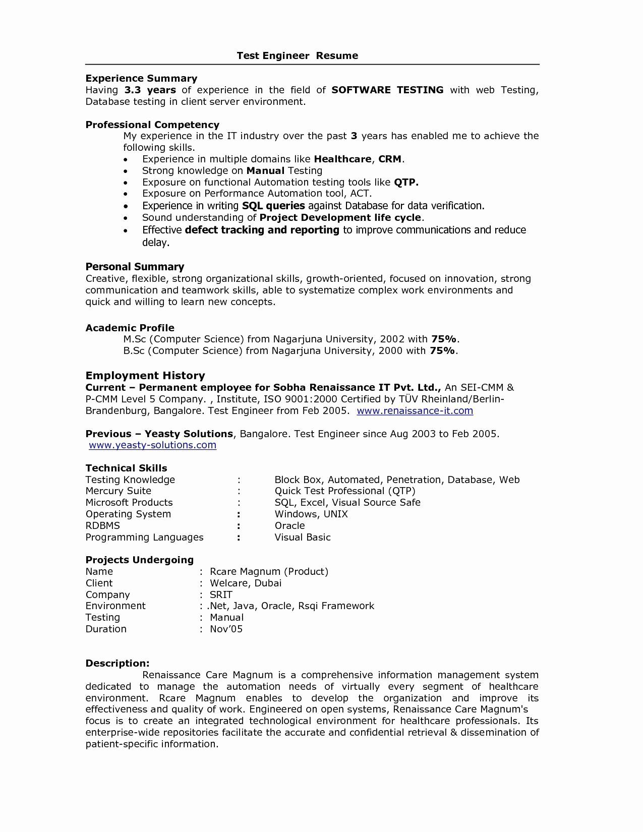Qa Tester Resume with 5 Years Experience Fresh for 5 Years