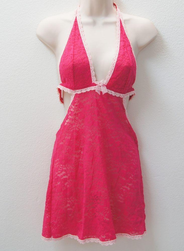 VICTORIA'S SECRET Lace Halter Sleep Dress Enchanted Pink NEW NWT  #VictoriasSecret #FullSlips
