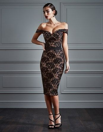 Rare Contrast Lace Bardot Midi Dress