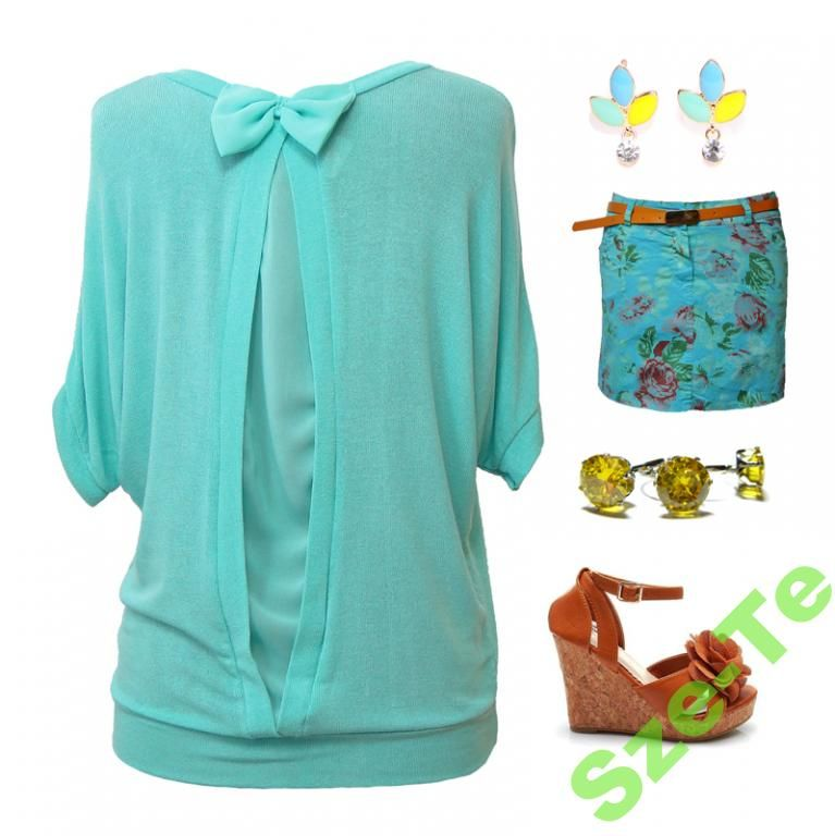 Mietowa Bluzka Kimono Tyl Kokardka Mint Blouse Bow Fashion Polyvore Polyvore Image