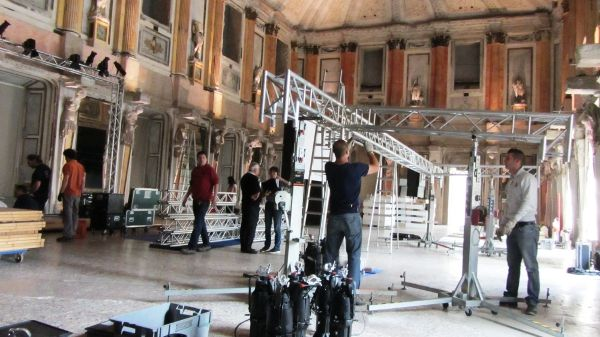 Workers set up a venue