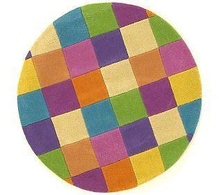 Girls Color Blocks 3 Wool RoundRug