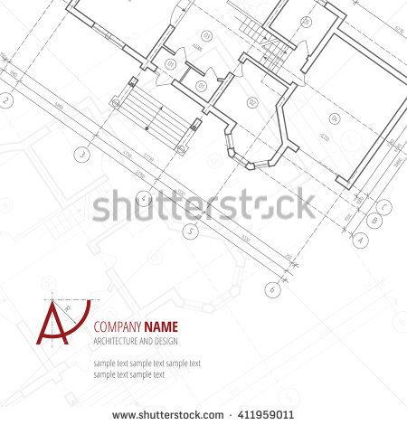 Architectural Background Gray Building Plan Silhouette And A Letter