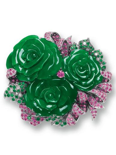 Jadeite Flower Gem Set And Diamond Brooch Pendant Lot Diamond Brooch Jade Jewelry Gems Jewelry