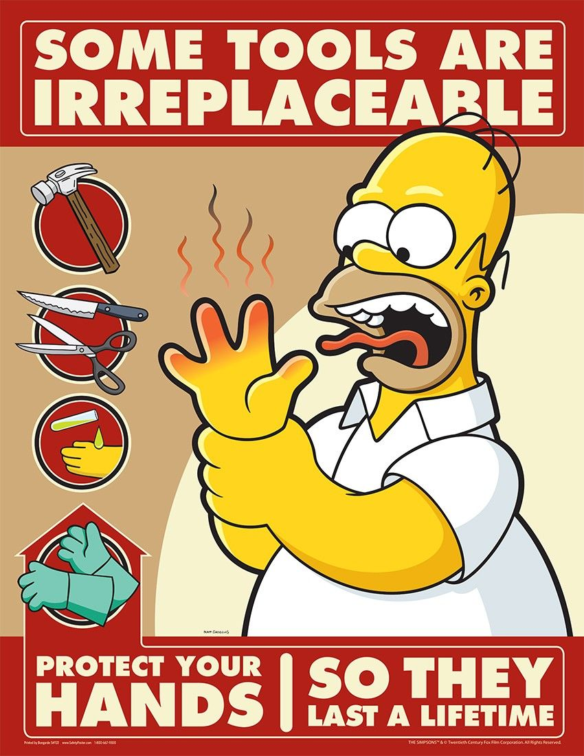 cool safety images Hand Safety Simpsons Posters Safety