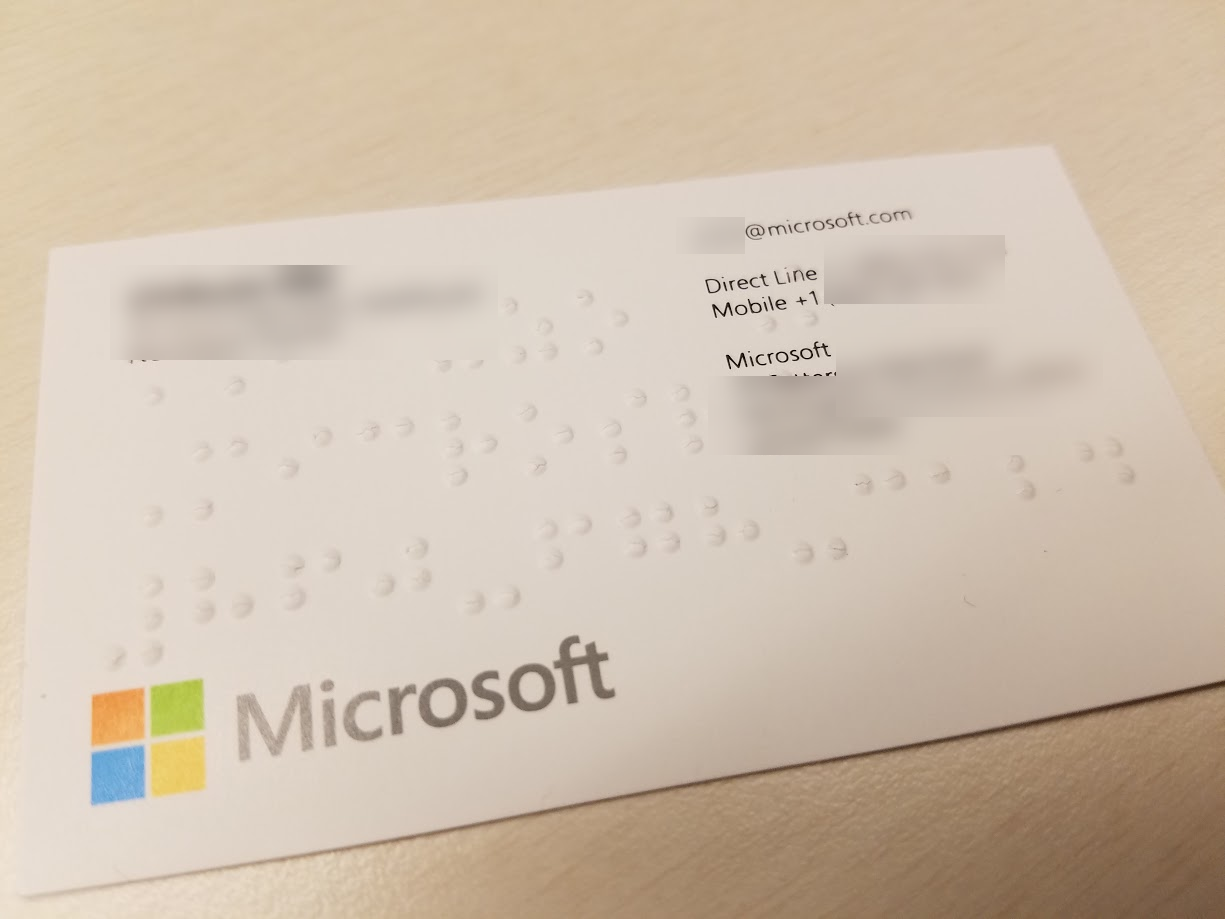 Received A Microsoft Business Card With Braille Proyectos