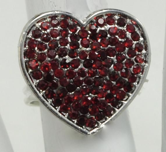 b8691d4bf05ea Small Garnet Heart Ring/Silver/Valentine's Day Jewelry/Be My ...
