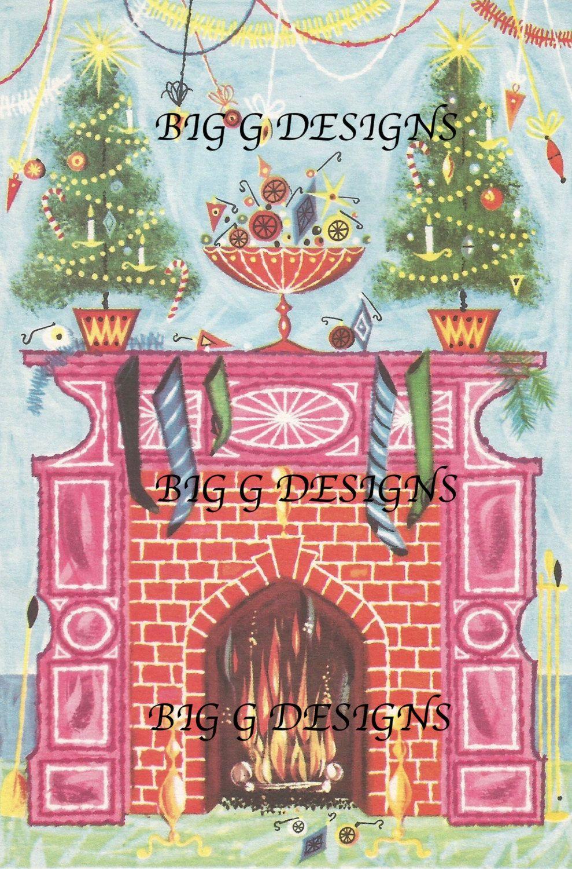 Vintage Christmas Greeting Card Tree Fireplace Ornaments Digital