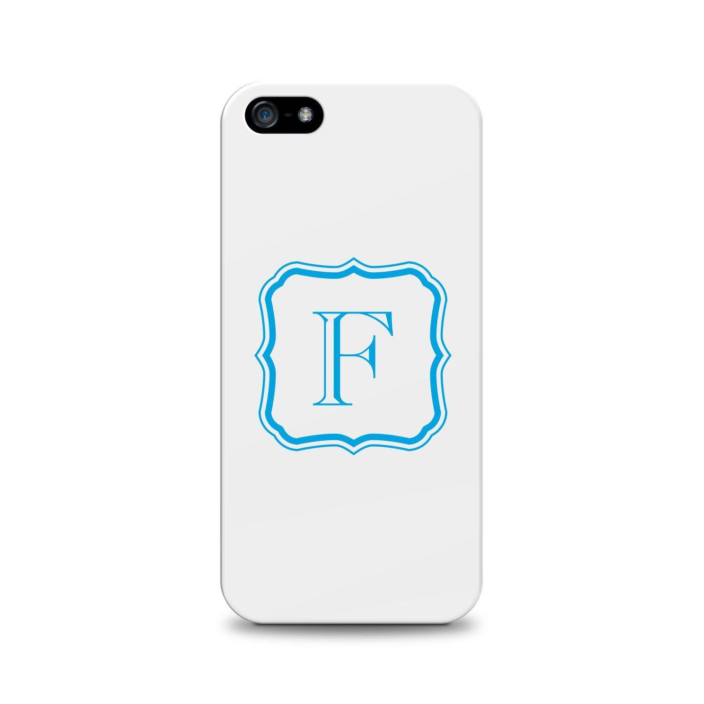 OTM Monogram Phone 5 White Glossy Case, Aristocrat, Cerulean-F