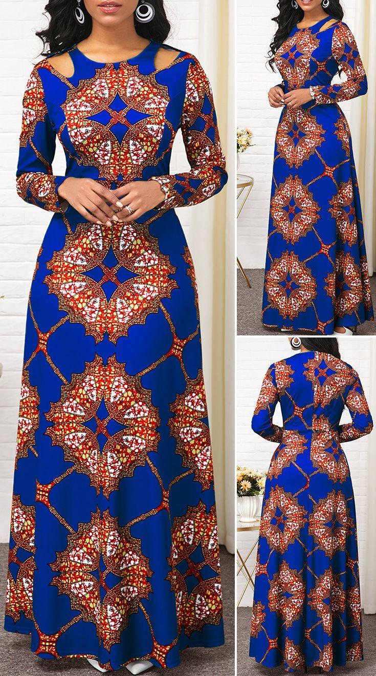 Tribal Print Long Sleeve Cutout Shoulder Maxi Dres