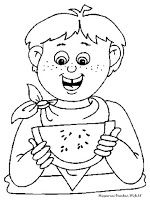 Gambar Mewarnai Seorang Anak Makan Buah Semangka Mewarnai Gambar