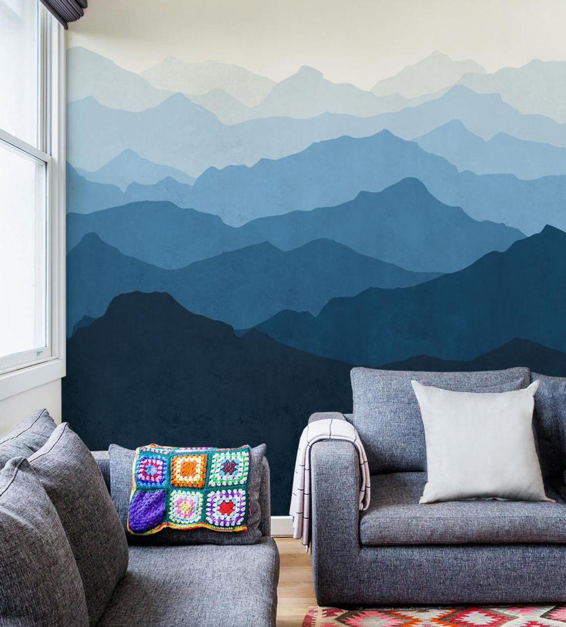 Fond d'écran mural de montagne bleu d'océan ombre Etsy