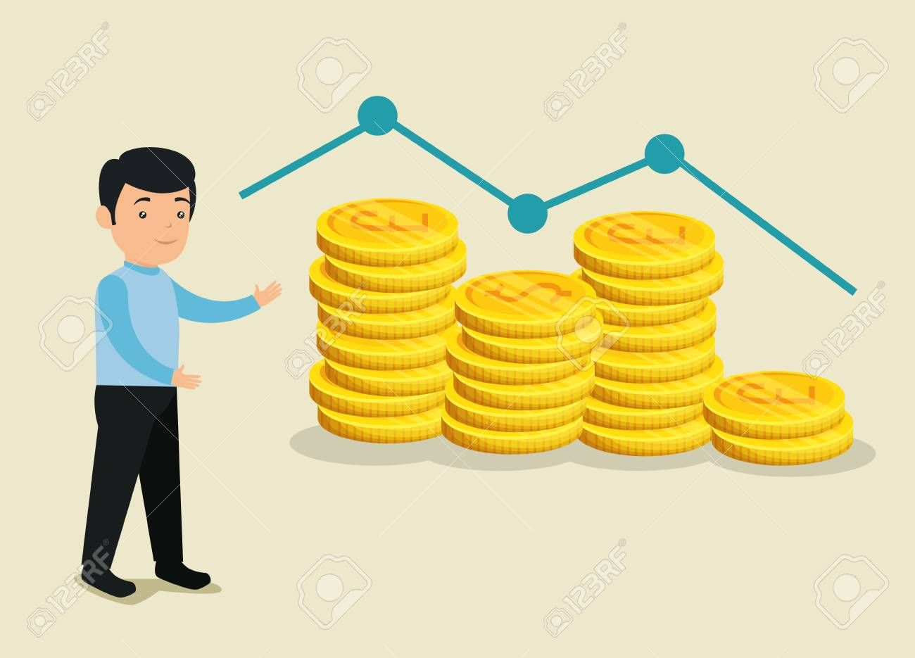 man with coins currency to exchange for bitcoin vector illustration Illustration ,