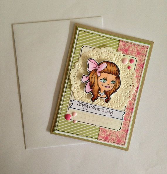 Mother's Day Card  Mum Mothers Day  Portrait by JessideeHandmade