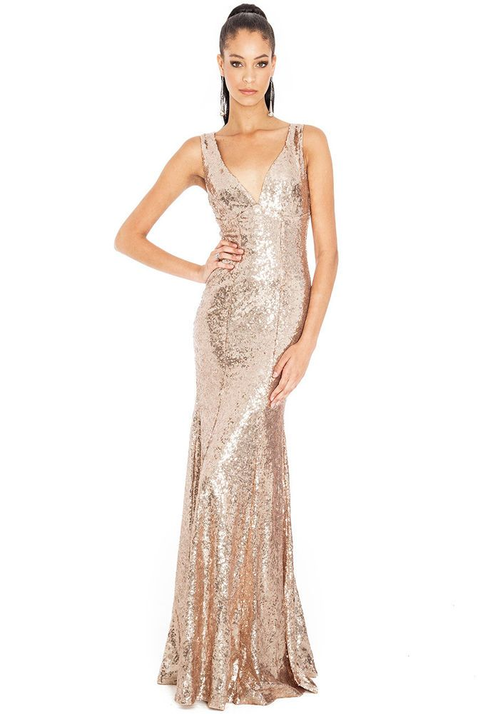 Goddess Champagne Long Sequin Sweetheart Evening Maxi Gown Dress ...