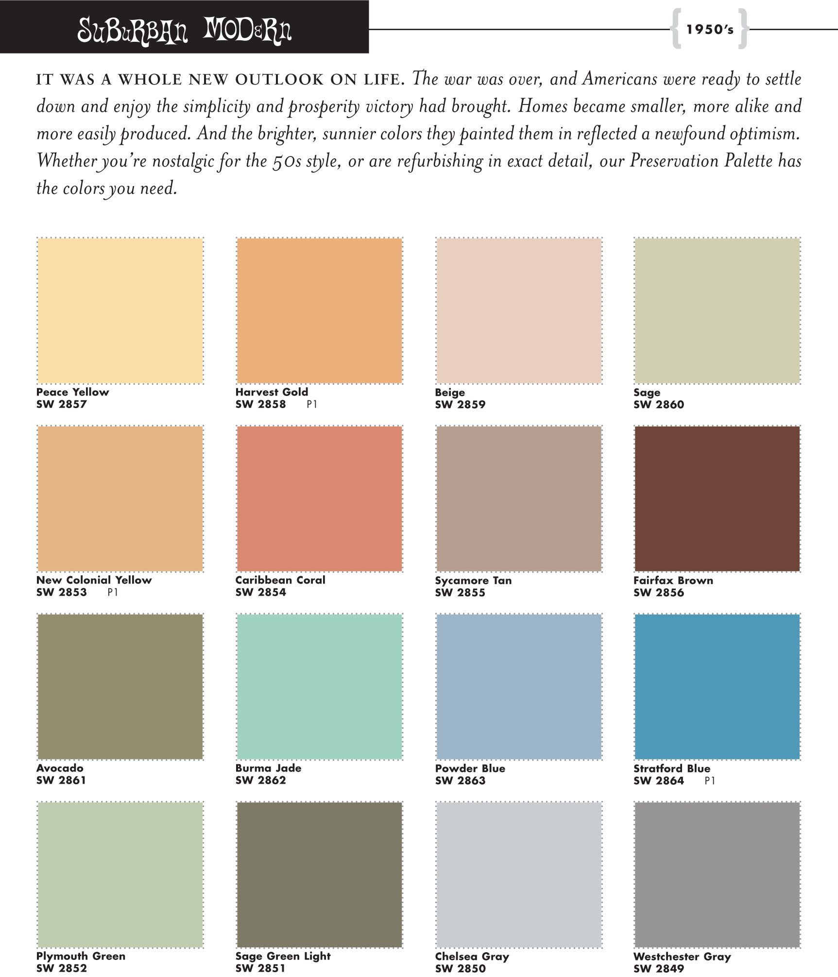 Mid century modern exterior house colors - Sherwin Williams 1950s Color Palette