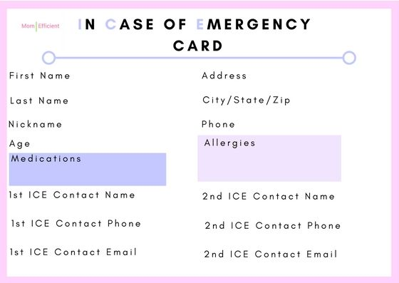 In Case Of Emergency Cards For Children Stay Connected To Your Children Print This On Card Stock Paper Or Laminate Emergency Kids Cards In Case Of Emergency