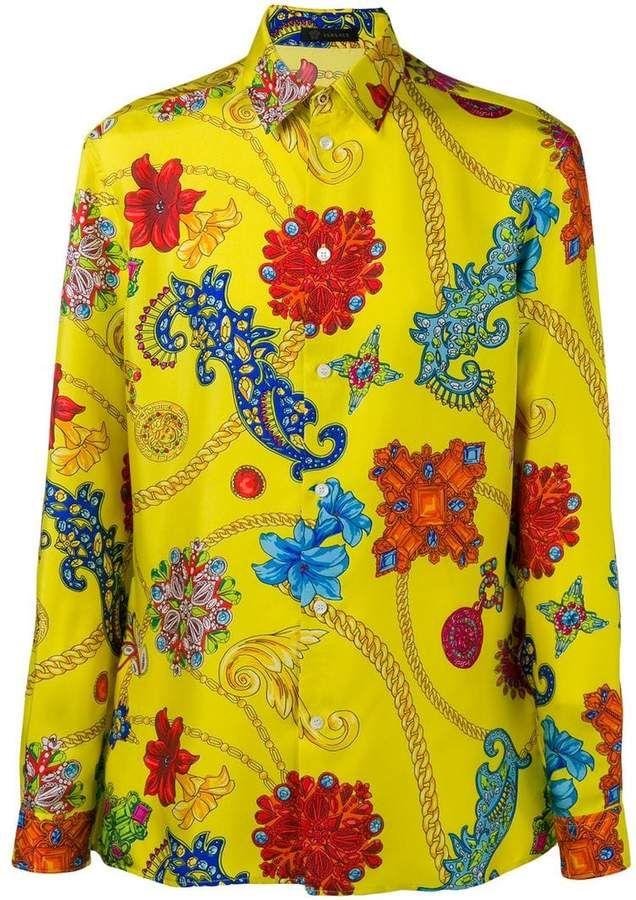 a7324f296 Versace baroque retro shirt Versace Men, Gianni Versace, Retro Shirts, Yellow  Shirts,