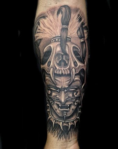 Black and grey sombra aztec warrior guerrero mexican for Mexican pride tattoos