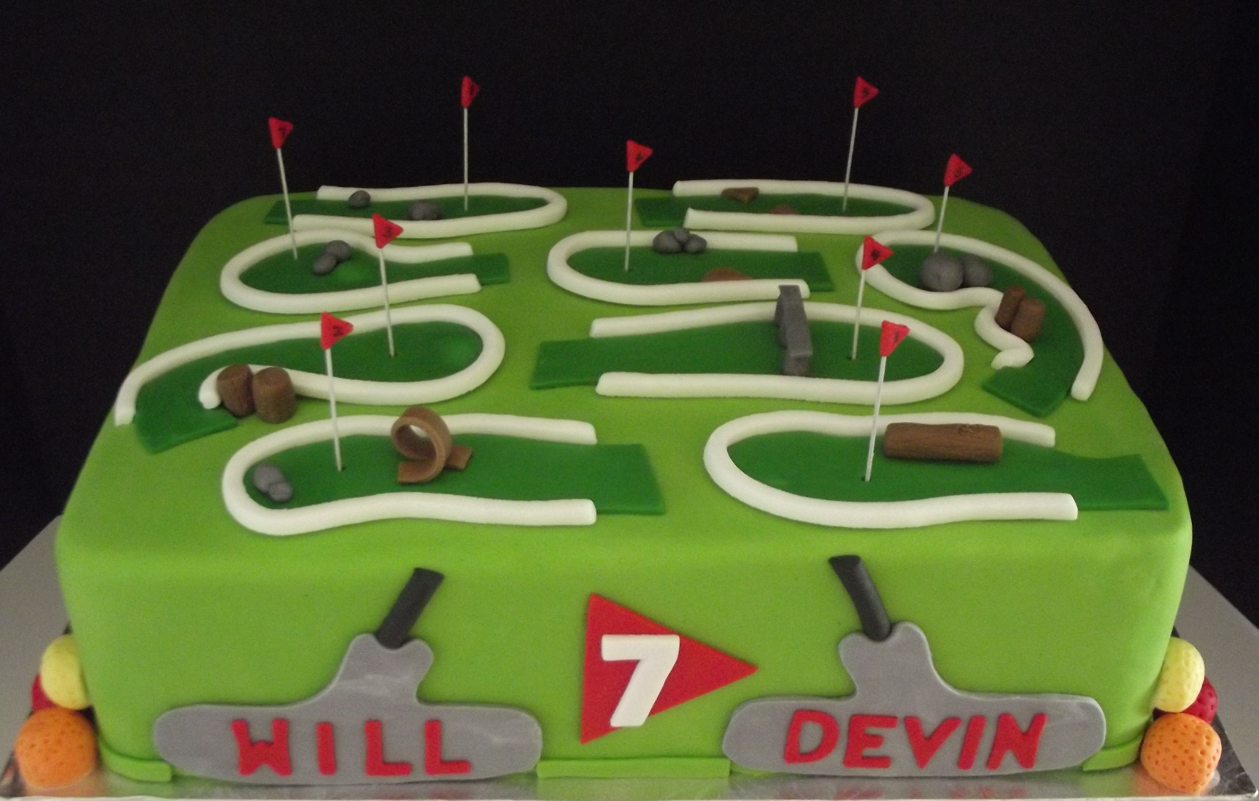 Mini Putt Golf Cake Complete With Edible Putters Cake