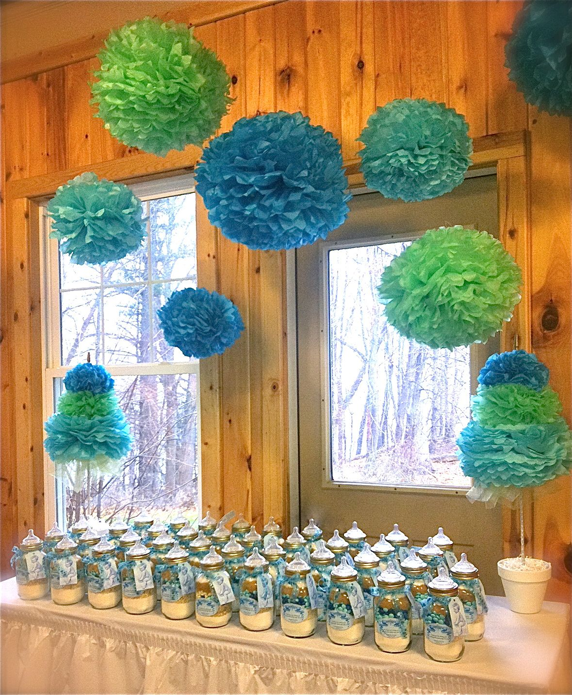baby shower favor table baby bottle mason jar cookies baby boy