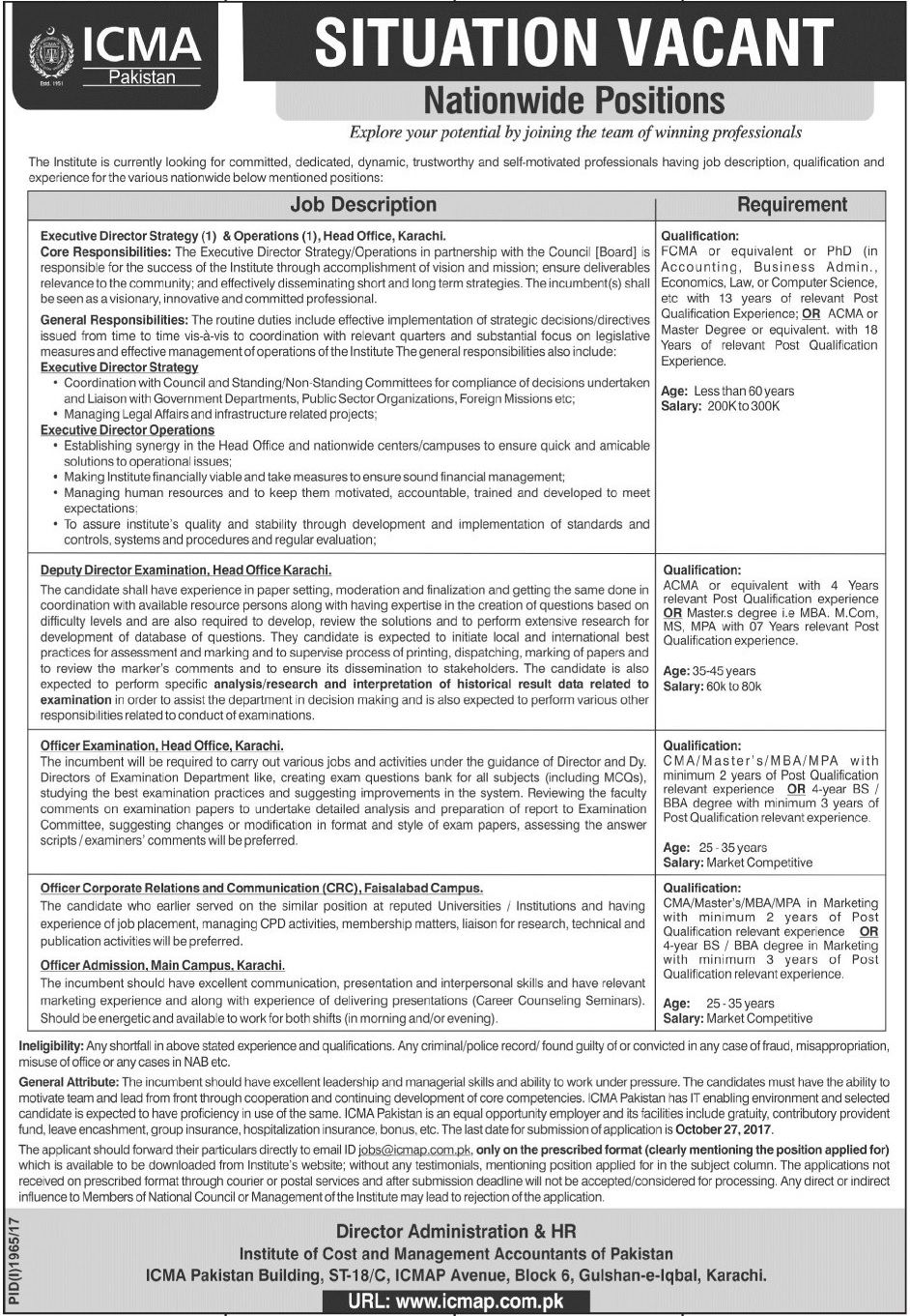 Icma Pakistan Jobs  In Karachi And Faisalabad For Deputy