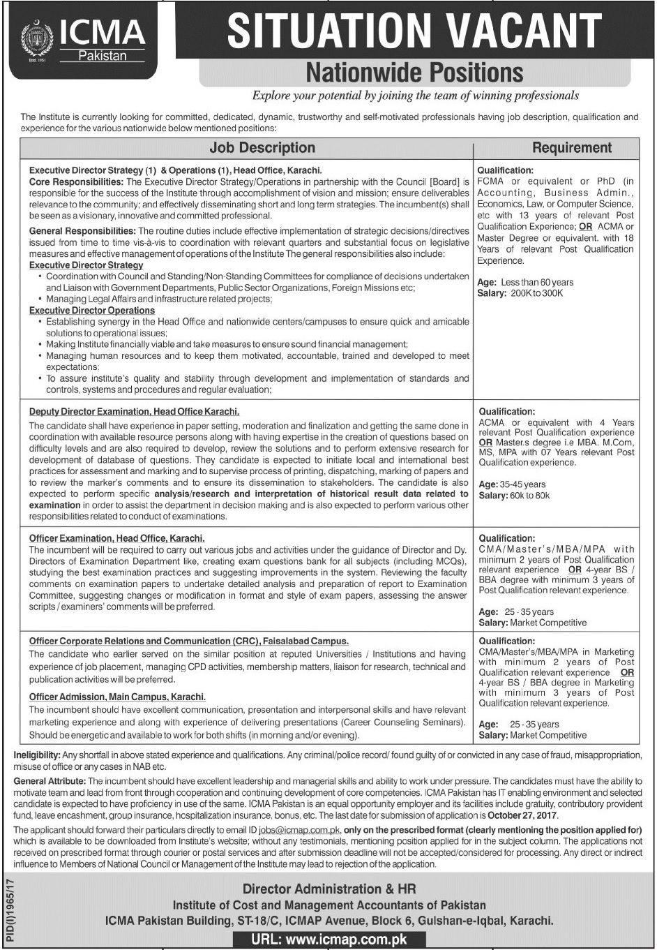 Icma Pakistan Jobs  In Karachi And Faisalabad For Deputy