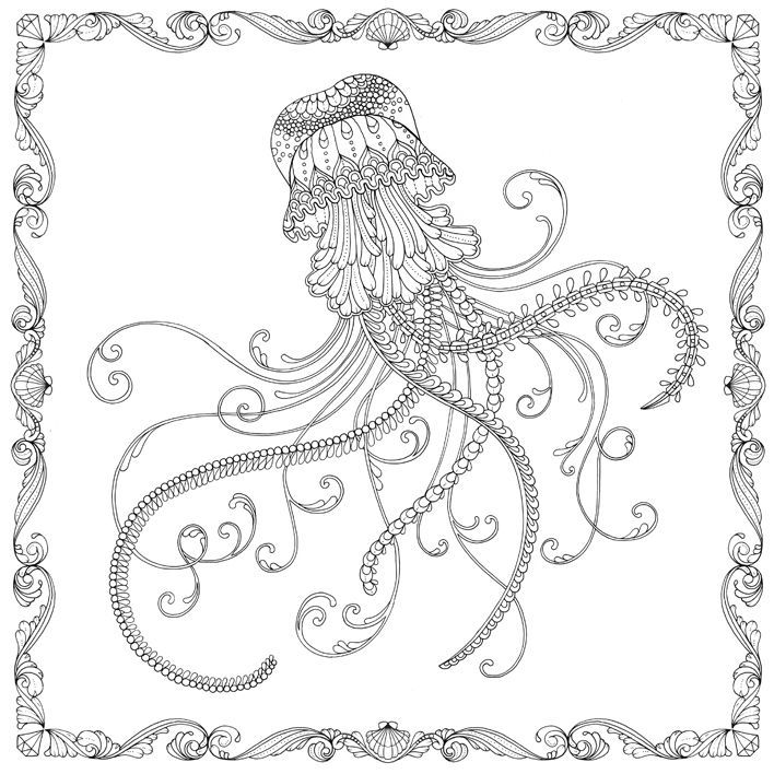 Adult Colouring Books Jellyfish