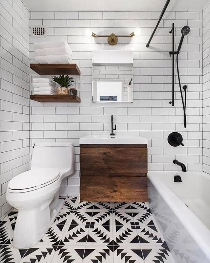 Minimal Black White And Wood Bathroom Smallbathroomblueprints Bathroom Tile Designs Bathroom Design Bathroom Design Small
