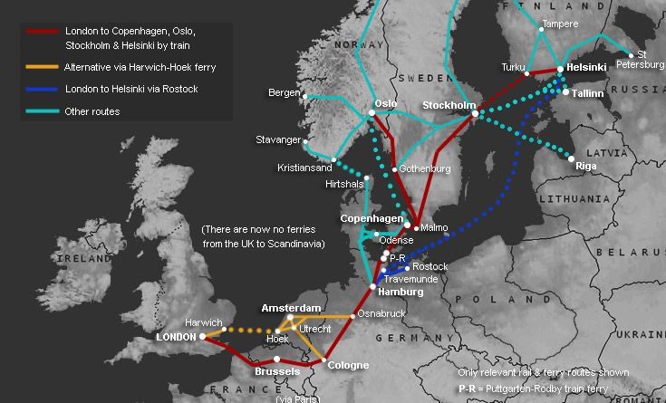How To Travel By Train Ferry From London To Helsinki Finland - Sweden map interactive
