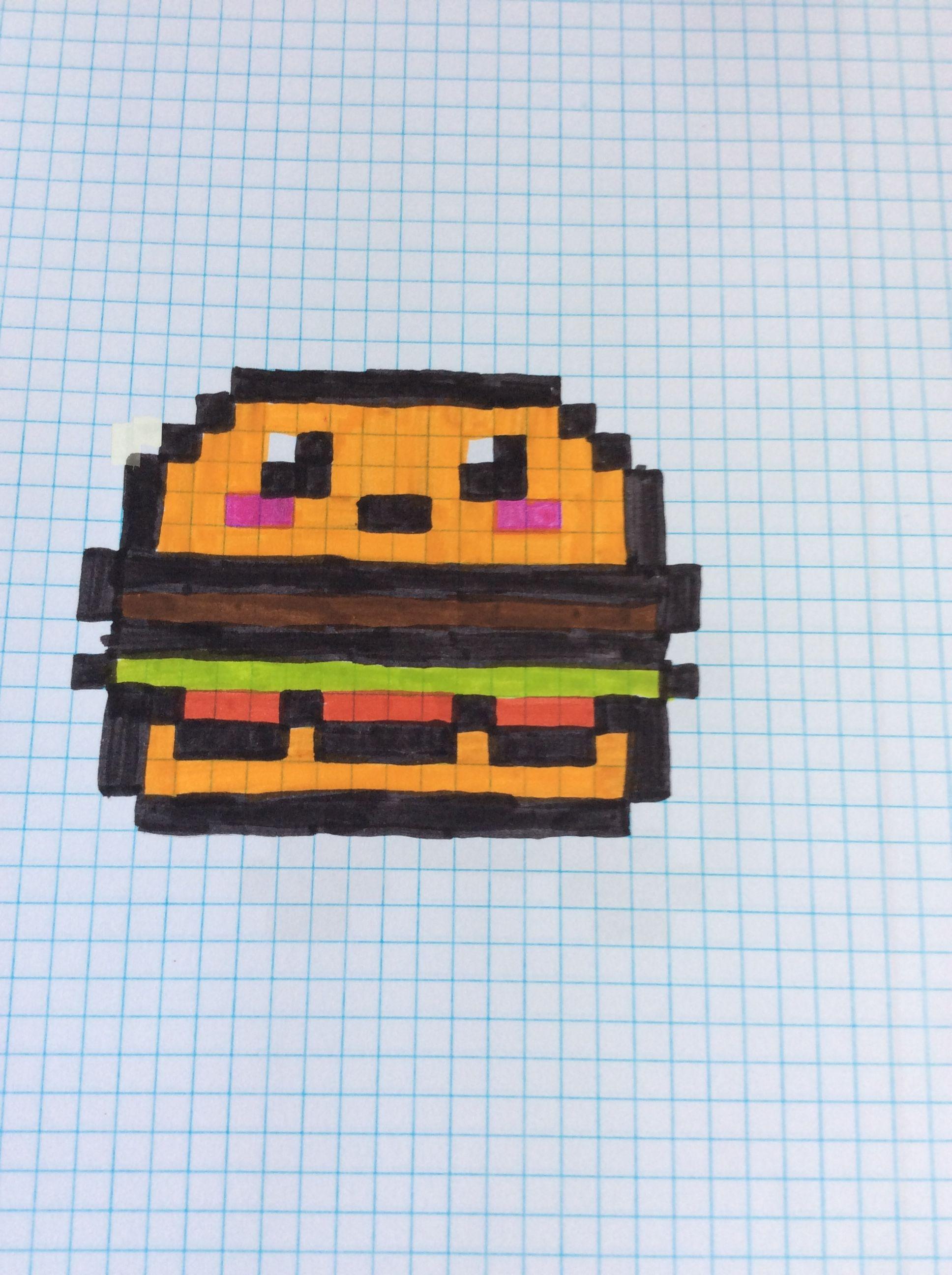 Pixel Art Hamburger Dibujos En Cuadricula Dibujos Pixelados