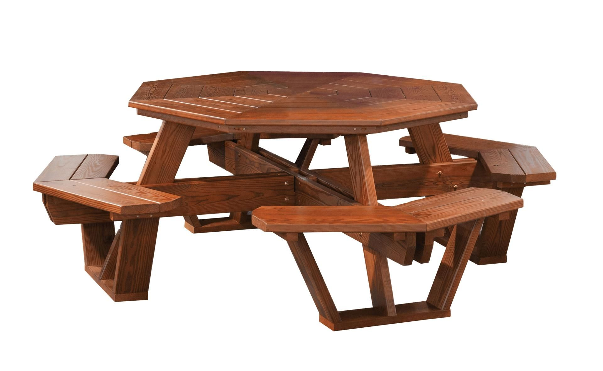 Amish Cedar Wood Octagon Picnic Table Octagon Picnic Table Picnic Table Outdoor Wood Furniture