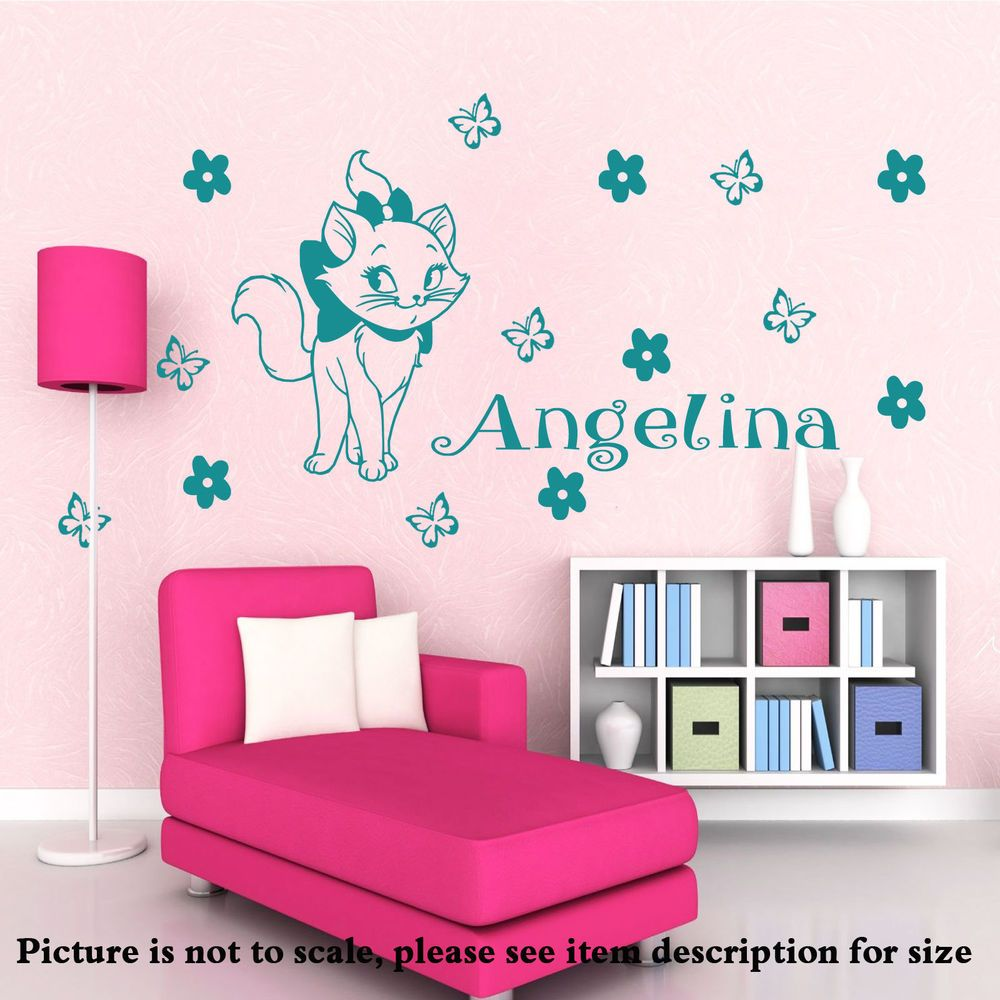 Disney Marie The Cat Personalized Name Wall Stickers Vinyl Decal - Custom vinyl wall decals cats