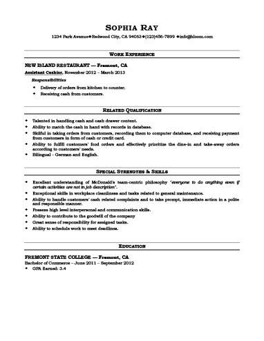 Cashier Resume Template Free Download Resume Examples Resume Sample Resume