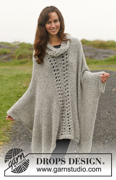 "Free Knitted DROPS poncho with lace pattern in ""Alpaca Bouclé"". Size ..."