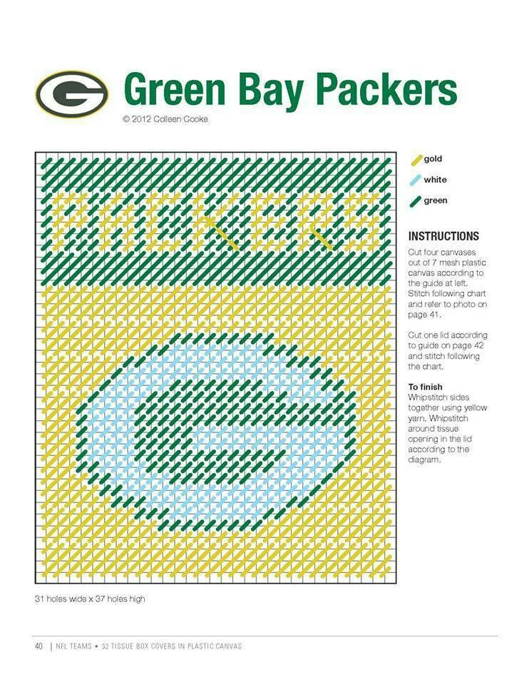 Plastic Tissue Pattern Box Green Bay Football Canvas Packers