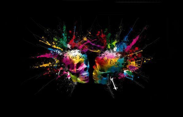 Wallpaper Eternal Love Forever Skull Spray Bright Colors