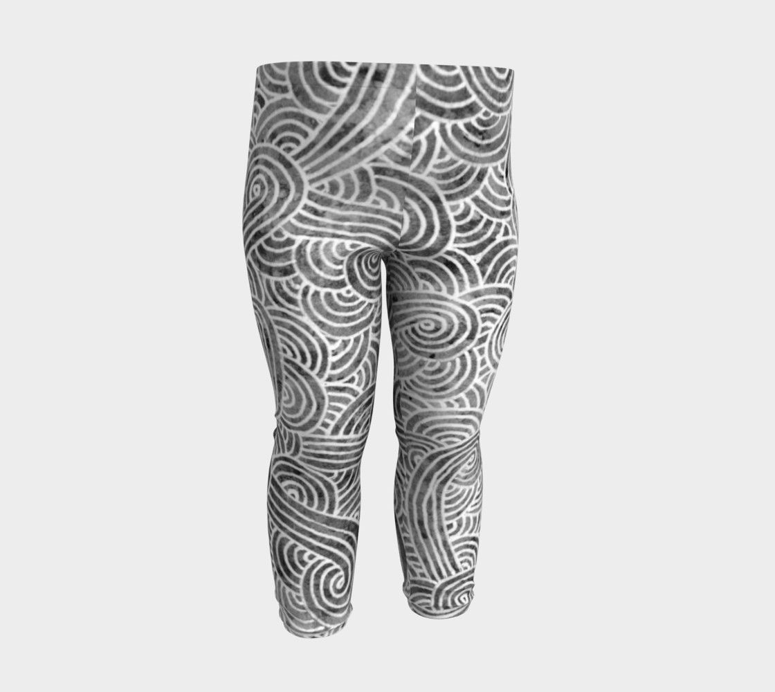 Grey and white swirls doodles Baby Leggings (6 months to 3 years) by @savousepate on Art of Where #blackandwhite #babyleggings #babyleggins #babypants