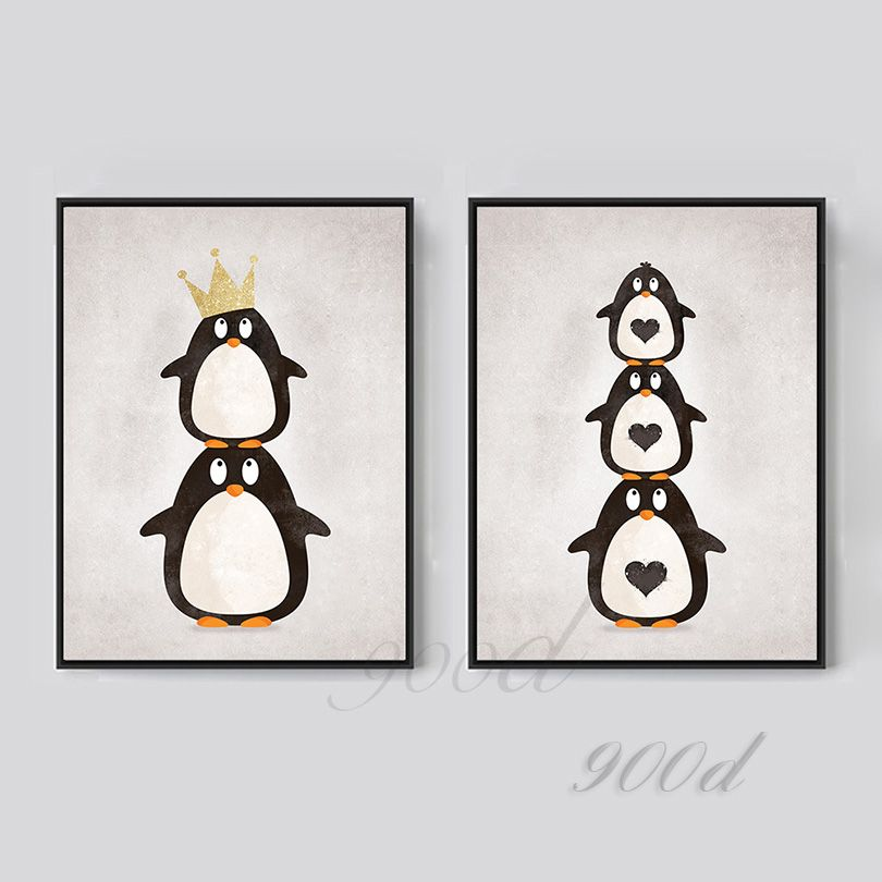 Find More Painting Calligraphy Information About Cartoon Penguin Canvas Art Print Painting