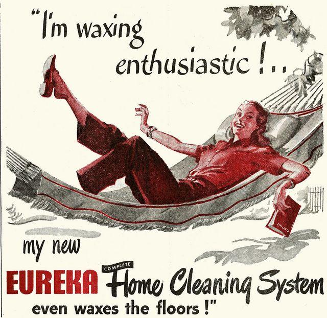 Fantastic ad! #vintage #cleaning #ad #1940s #hammock #homemaker