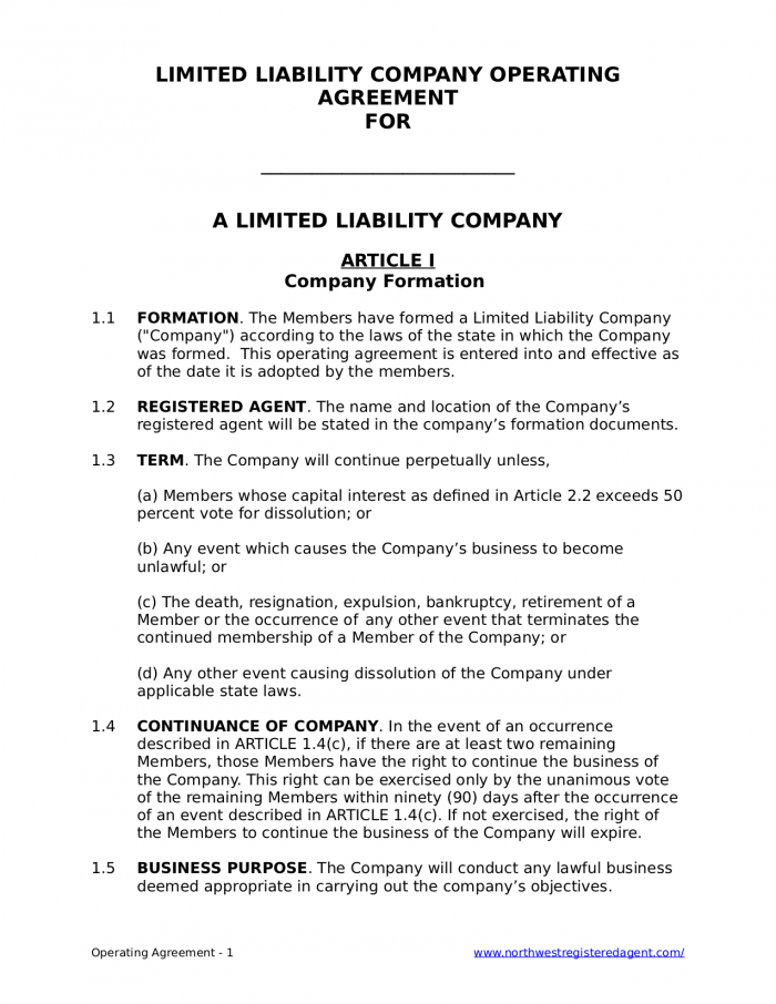 Free Llc Operating Agreement Northwest Registered Agent Limited Liability Company S Corporation Agreement