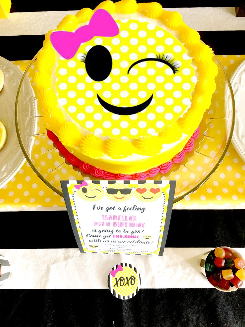 Emoji Themed Birthday Party Cake Via Pretty My