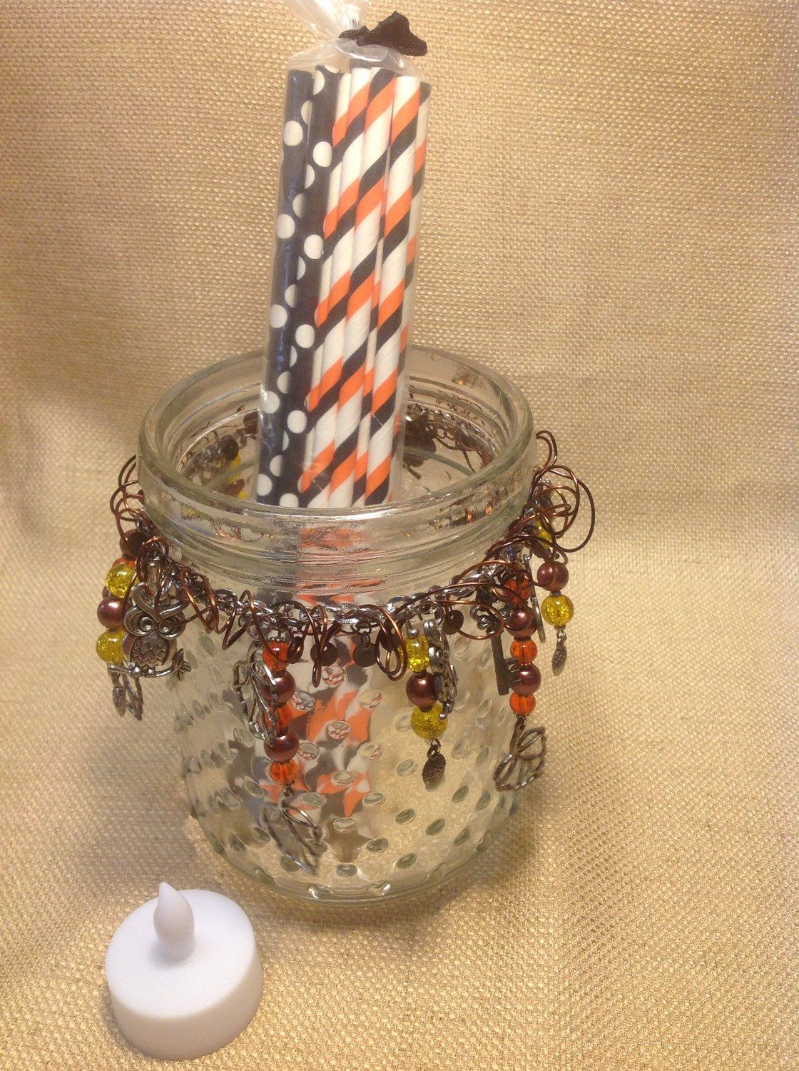 Charm Jar Fall Halloween Candle Holder Drink Glass by VintageAtticCo on Etsy